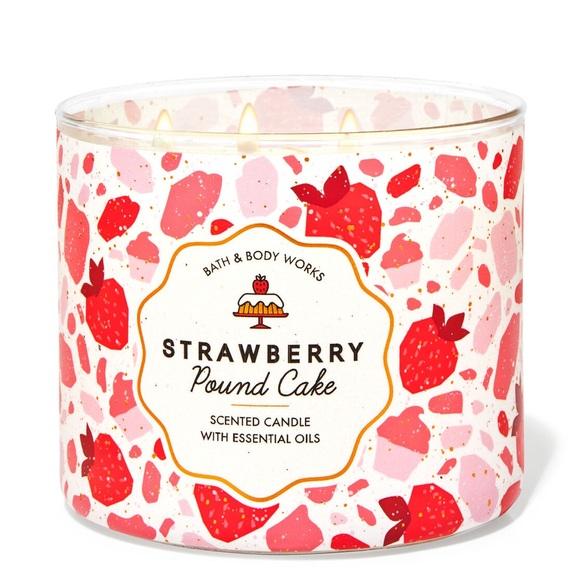 Strawberry Poundcake 3 Wick Candle